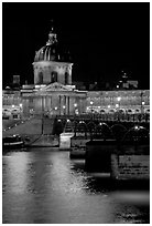 Pont des Arts and Institut de France by night. Paris, France (black and white)