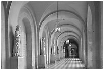 Versailles Palace corridor. France (black and white)