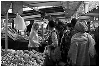 Popular street market. Paris, France (black and white)