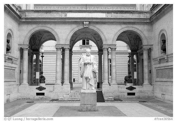 Courtyard of the College de France. Quartier Latin, Paris, France (black and white)