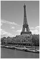 Seine River and Eiffel Tower. Paris, France (black and white)
