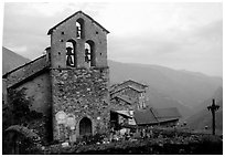 Church in high perched village. Maritime Alps, France ( black and white)