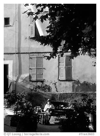 Street scene in Vallauris. Maritime Alps, France (black and white)