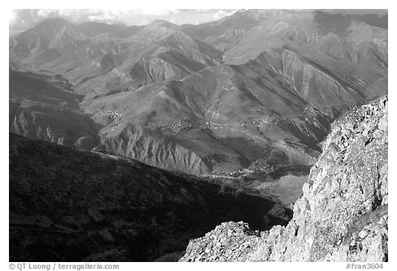 View of La Grave plateau and villages. France (black and white)