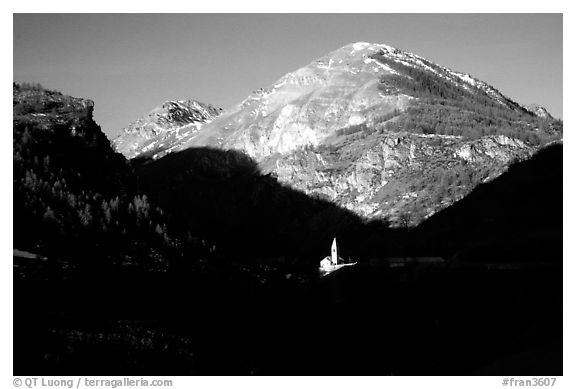 Church of Saint Dalmas le Selvage. Maritime Alps, France (black and white)
