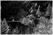 Barns in Autumn. Maritime Alps, France ( black and white)