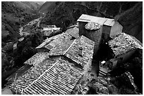 Rooftops in high perched Village. Maritime Alps, France ( black and white)
