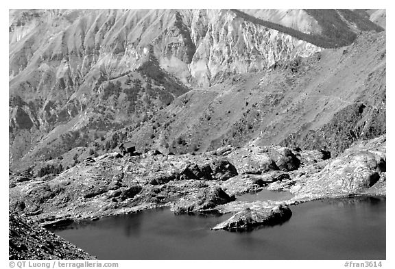 Lake and mountain hut, Mercantour National Park. Maritime Alps, France