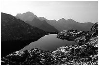 Lake in early winter in, Mercantour National Park. Maritime Alps, France (black and white)