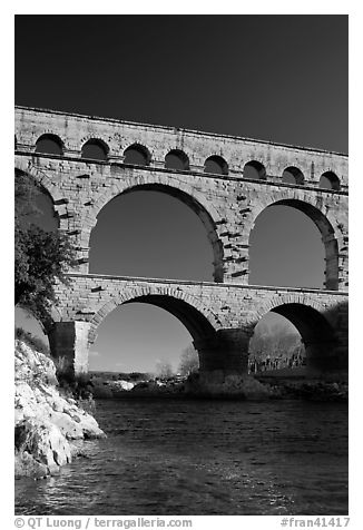Bridge of the river Gard. France (black and white)