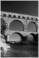 Bridge of the river Gard. France ( black and white)