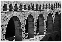 Upper and middle levels of Pont du Gard. France (black and white)