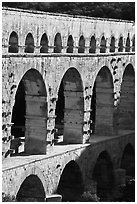 Arches of Pont du Gard. France ( black and white)