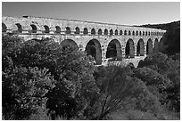 Pont du Gard spanning Gardon river valley. France (black and white)