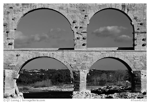 Lower and middle arches, Pont du Gard. France (black and white)