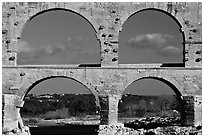 Lower and middle arches, Pont du Gard. France ( black and white)