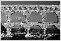 Pont du Gard Roman Aqueduct. France (black and white)