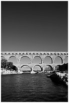 Roman Aqueduct and bridge over the Gard. France ( black and white)
