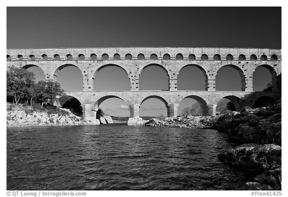 Gard River and Pont du Gard. France (black and white)