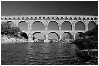 Gard River and Pont du Gard. France ( black and white)