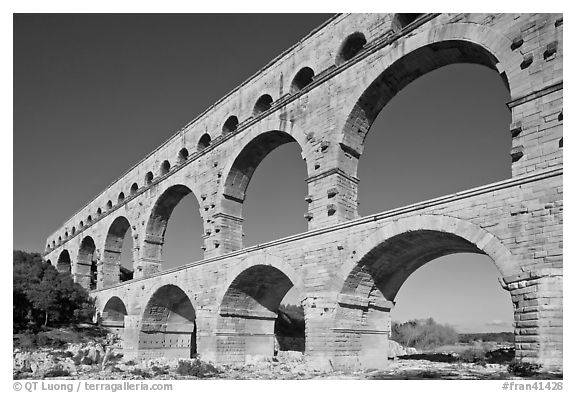 Ancient Roman Aqueduct, Gard River. France (black and white)