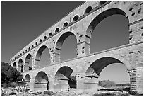 Ancient Roman Aqueduct, Gard River. France ( black and white)