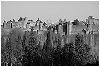 Distant view of fortified town. Carcassonne, France ( black and white)
