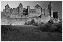 Fortified walls of the City. Carcassonne, France ( black and white)