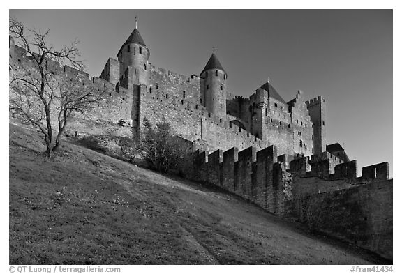 Medieval fortified city. Carcassonne, France (black and white)