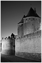 City fortifications by night. Carcassonne, France ( black and white)