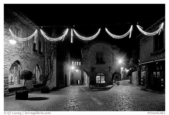 Black And White Picture Photo Place A Pierre Pont With Christmas Decorations At Night Carcassonne France