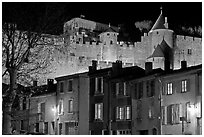 Houses and ramparts by night. Carcassonne, France ( black and white)