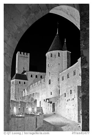 Medieval castle illuminated at night. Carcassonne, France (black and white)