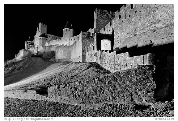 Fortress by night. Carcassonne, France (black and white)