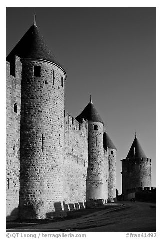 Inner fortification walls. Carcassonne, France (black and white)