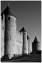 Inner fortification walls. Carcassonne, France ( black and white)
