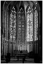 Altar and stained glass windows, Saint-Nazaire basilica. Carcassonne, France ( black and white)