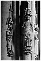 Gothic statues, St-Nazaire basilica. Carcassonne, France ( black and white)