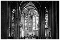 Interior and stained glass windows, basilique Saint-Nazaire. Carcassonne, France ( black and white)