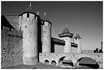 Chateau Comtal inside medieval city. Carcassonne, France ( black and white)