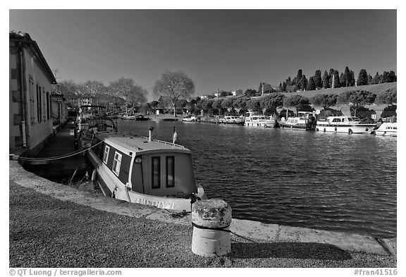 Basin with riverboats anchored, Canal du Midi. Carcassonne, France (black and white)