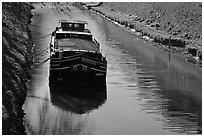 Barge, Canal du Midi. Carcassonne, France ( black and white)