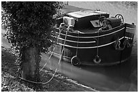 Anchored barge detail, Canal du Midi. Carcassonne, France ( black and white)