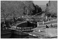 River navigation lock system, Canal du Midi. Carcassonne, France ( black and white)