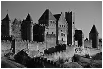 Castle and ramparts, medieval city. Carcassonne, France ( black and white)