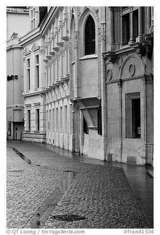 Pavement and buildings, Place St Andre. Grenoble, France (black and white)