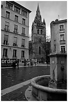Fountain, square, and church. Grenoble, France (black and white)