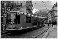 Electric Tramway on downtown street. Grenoble, France (black and white)