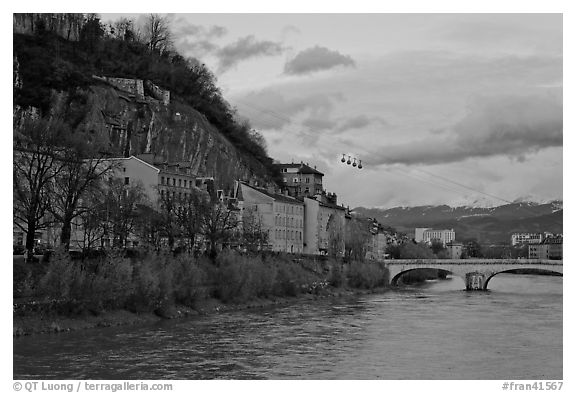 Isere River and cable-car at sunset. Grenoble, France (black and white)