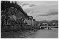 Isere River and cable-car at sunset. Grenoble, France ( black and white)